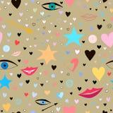 Άνευ ραφής σχέδιο με τα αστέρια, καρδιές, χείλια, βέλη, μάτια Ζωηρόχρωμος και εορταστικός απεικόνιση αποθεμάτων