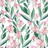Άνευ ραφής σχέδιο με τα λουλούδια και τα φύλλα watercolor απεικόνιση αποθεμάτων