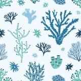 Άνευ ραφής σχέδιο με τα μπλε και πράσινα κοράλλια, το φύκι ή τα άλγη Σκηνικό με τα υποθαλάσσια είδη ζωής, ωκεανών ή θάλασσας απεικόνιση αποθεμάτων