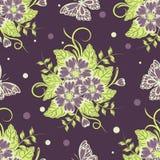 Άνευ ραφής σχέδιο με τα όμορφες λουλούδια και τις πεταλούδες επίσης corel σύρετε το διάνυσμα απεικόνισης διανυσματική απεικόνιση