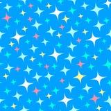 Άνευ ραφής σχέδιο με τα σπινθηρίσματα αστροφεγγιάς, αστράφτοντας αστέρια background blue shiny Απεικόνιση του έναστρου ουρανού νύ διανυσματική απεικόνιση