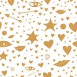Άνευ ραφής σχέδιο με τα χρυσά αστέρια, καρδιές, χείλια, βέλη, μάτια συμπαθητικός και εορταστικός ελεύθερη απεικόνιση δικαιώματος