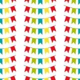 Άνευ ραφής σχέδιο με τις ζωηρόχρωμες σημαίες Διανυσματικό σχέδιο στο άσπρο υπόβαθρο Υπόβαθρο διακοπών για το σχέδιο Ιστού, ευχετή απεικόνιση αποθεμάτων