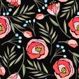 Άνευ ραφής σχέδιο με τους κλάδους, τα λουλούδια και τα μούρα watercolor απεικόνιση αποθεμάτων