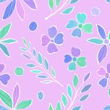 Άνευ ραφής σχέδιο με τους κλάδους των φύλλων και των λουλουδιών στο ύφος του σκίτσου Ζωηρόχρωμη απεικόνιση στο ροζ διανυσματική απεικόνιση