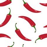Άνευ ραφής σχέδιο με το κόκκινο - καυτό πιπέρι τσίλι επίσης corel σύρετε το διάνυσμα απεικόνισης διανυσματική απεικόνιση
