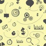 Άνευ ραφής σχέδιο ουσίας γραφείων Doodle σε κίτρινο απεικόνιση αποθεμάτων