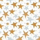 Άνευ ραφής σχέδιο διακοπών με τα χρυσά και ασημένια αστέρια διανυσματική απεικόνιση