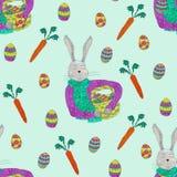 Άνευ ραφής σχέδιο των στοιχείων άνοιξη για το σχέδιο Πάσχας Κουνέλι, αυγά και καλάθι διανυσματική απεικόνιση
