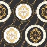 Άνευ ραφής σχέδιο υφάσματος μόδας με τις χρυσά αλυσίδες, τις ζώνες και τα λουριά Μπαρόκ στοιχεία κοσμήματος σχεδίου μόδας υποβάθρ διανυσματική απεικόνιση