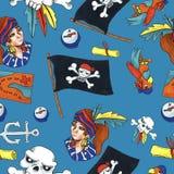 Άνευ ραφής σχέδιο πειρατών ζωηρόχρωμα αντικείμενα που επαναλαμβάνουν το υπόβαθρο για τον Ιστό και το σκοπό τυπωμένων υλών ελεύθερη απεικόνιση δικαιώματος