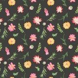 Άνευ ραφής σχέδιο Watercolor με τα λουλούδια, succulents, κάκτοι διανυσματική απεικόνιση