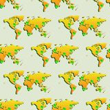 Άνευ ραφής ταπετσαρία με τον παγκόσμιο χάρτη στοκ εικόνες