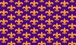 Άνευ ραφής pattern fleur de lis σύμβολο Άνευ ραφής σχέδιο gras της Mardi Υπόβαθρο καρναβαλιού Παχιά Τρίτη ελεύθερη απεικόνιση δικαιώματος