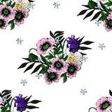 Άνευ ραφής poppyand άλλη διανυσματική εικόνα σύστασης λουλουδιών διανυσματική απεικόνιση