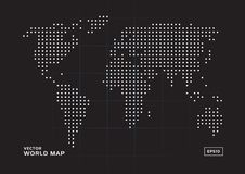 Άσπρα σημεία παγκόσμιων χαρτών με το μαύρο υπόβαθρο ελεύθερη απεικόνιση δικαιώματος