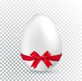 Άσπρο αυγό Πάσχας με την κόκκινη κορδέλλα στο διαφανές υπόβαθρο μινιμαλισμός το πρόσθετο έμβλημα είναι μπορεί αλλαγμένος να σχημα διανυσματική απεικόνιση