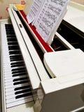 Άσπρο μεγάλο πιάνο εμπορικό σήμα που παρουσιάζεται κανένα ως ζήτημα πνευματικών δικαιωμάτων η εστίαση στα μπροστινά tuts στοκ εικόνες