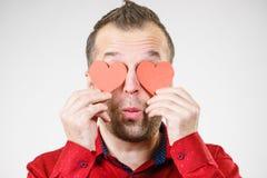 Άτομο ερωτευμένο με τις καρδιές στα μάτια στοκ εικόνες με δικαίωμα ελεύθερης χρήσης