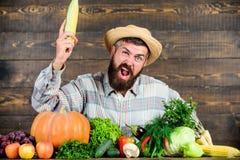 Άτομο με το ξύλινο υπόβαθρο γενειάδων Γίνετε οργανικός αγρότης Farmer με τα οργανικά homegrown λαχανικά Αυξηθείτε τις οργανικές σ στοκ φωτογραφία με δικαίωμα ελεύθερης χρήσης