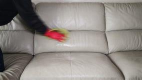 Άτομο που ψεκάζει τον υγρό & σκουπίζοντας καναπέ δέρματος απόθεμα βίντεο