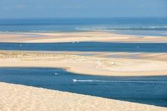 Άποψη από τον αμμόλοφο Pilat, ο πιό ψηλός αμμόλοφος άμμου στην Ευρώπη Λα teste-de-Buch, κόλπος του Αρκασόν, Aquitaine, στοκ εικόνες με δικαίωμα ελεύθερης χρήσης