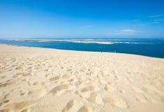Άποψη από τον αμμόλοφο Pilat, ο πιό ψηλός αμμόλοφος άμμου στην Ευρώπη Λα teste-de-Buch, κόλπος του Αρκασόν, Aquitaine, στοκ φωτογραφίες με δικαίωμα ελεύθερης χρήσης