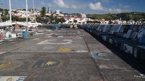 Άποψη στην αποβάθρα Horta στο λιμάνι Νησί Faial, Αζόρες, Πορτογαλία στοκ φωτογραφία