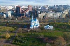 Άποψη της εκκλησίας Nativity, εναέρια έρευνα πρωινού Νοεμβρίου, Άγιος Πετρούπολη στοκ εικόνες