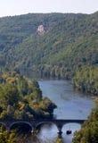 Άποψη της κοιλάδας του ποταμού Dordogne από beynac-et-Cazenac Castle, Aquitaine, στοκ φωτογραφίες