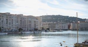 Άποψη της μαρίνας στο κέντρο πόλεων Sete, Γαλλία στοκ εικόνες με δικαίωμα ελεύθερης χρήσης