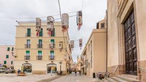 Άποψη Alghero, νησί της Σαρδηνίας, Ιταλία οδών στοκ φωτογραφία με δικαίωμα ελεύθερης χρήσης
