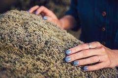 Άποψη Cinematic της γυναίκας thoughtfull στην κατάθλιψη σχετικά με το βρύο πετρών στη φύση και την ανταλλαγή της ενέργειας συγκίν στοκ εικόνα με δικαίωμα ελεύθερης χρήσης