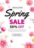 Έμβλημα αφισών πώλησης άνοιξη με το ανθίζοντας πρότυπο υποβάθρου λουλουδιών Σχέδιο για τη διαφήμιση, απόδειξη, ιπτάμενα, φυλλάδιο απεικόνιση αποθεμάτων