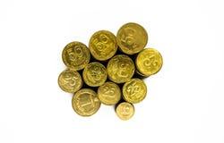 Ένας μεγάλος σωρός των ουκρανικών νομισμάτων 50 και 25 καπικιών στοκ εικόνα με δικαίωμα ελεύθερης χρήσης
