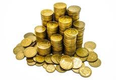 Ένας μεγάλος σωρός των ουκρανικών νομισμάτων 50 και 25 καπικιών στοκ φωτογραφίες