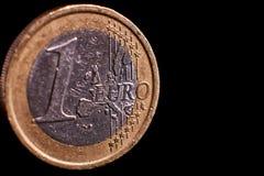 ένα ευρο- νόμισμα απομόνωσε κοντά επάνω στοκ φωτογραφία