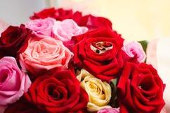Ένα ζευγάρι του χρυσού γάμου χτυπά τα υπόλοιπα στα κόκκινα τριαντάφυλλα Γαμήλια διακόσμηση, ένα σύμβολο της αγάπης και πίστη στοκ φωτογραφία με δικαίωμα ελεύθερης χρήσης