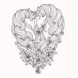 Ένα ζευγάρι των όμορφων μονοκέρων με έναν μακρύ Μάιν στα τριαντάφυλλα μαύρο λευκό διάνυσμα απεικόνιση αποθεμάτων