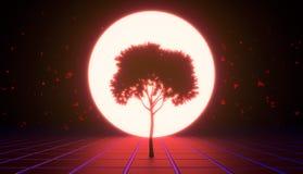 Ένα δέντρο στην εικονική διαστημική, κόκκινη απόχρωση στοκ εικόνες