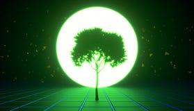 Ένα δέντρο στην εικονική διαστημική, πράσινη απόχρωση απεικόνιση αποθεμάτων