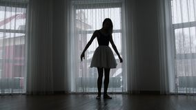 Ένα στούντιο στο λυκόφως Μια σκιαγραφία της νέας κατάρτισης γυναικών απόθεμα βίντεο
