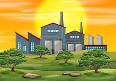 Ένα υπόβαθρο ηλιοβασιλέματος εργοστασίων ελεύθερη απεικόνιση δικαιώματος