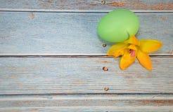 Ένα πράσινο αυγό Πάσχας και ένα λουλούδι βρίσκονται σε έναν ξύλινο πίνακα στοκ εικόνες με δικαίωμα ελεύθερης χρήσης