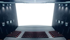 Αίθουσα κινηματογράφων με την κενές οθόνη και τις άδειες θέσεις Σύγχρονο σχέδιο με το χτύπημα του φωτισμού, φωτισμός νέου Ακουστι ελεύθερη απεικόνιση δικαιώματος