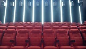 Αίθουσα κινηματογράφων με την κενές οθόνη και τις άδειες θέσεις Σύγχρονο σχέδιο με το χτύπημα του φωτισμού, φωτισμός νέου Ακουστι απεικόνιση αποθεμάτων