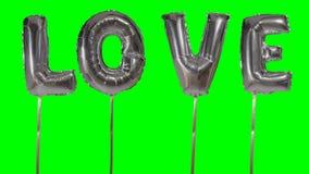 Αγάπη λέξης από τις ασημένιες επιστολές μπαλονιών ηλίου που επιπλέουν στην πράσινη οθόνη - απόθεμα βίντεο