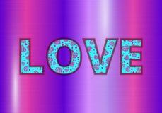 Αγάπη σε ένα πορφυρό υπόβαθρο ελεύθερη απεικόνιση δικαιώματος