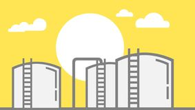 Αγροτική απεικόνιση δεξαμενών αποθήκευσης πετρελαίου με τον ήλιο και σύννεφα στο κίτρινο υπόβαθρο - διανυσματική απεικόνιση απεικόνιση αποθεμάτων