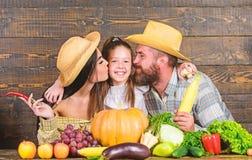 Αγρότες οικογενειακού αγροτικοί ύφους στην αγορά με τα φρούτα και την πρασινάδα λαχανικών Φεστιβάλ συγκομιδών γονέων και κορών Οι στοκ εικόνες με δικαίωμα ελεύθερης χρήσης